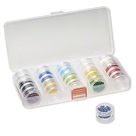 case with stacking jars for makeup pigments